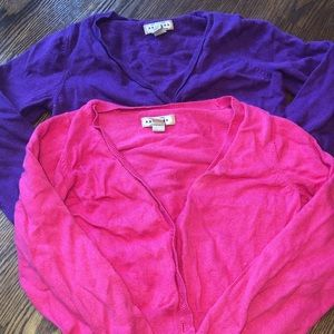 Purple and pink sweaters size 6